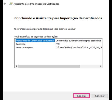 Importar certificado