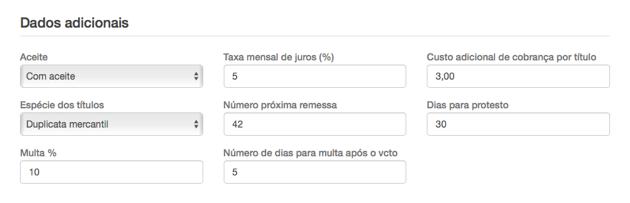 Configurar dados adicionais