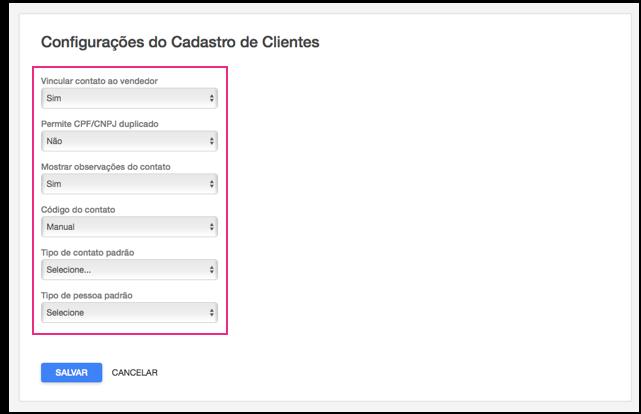 Configurações do cadastro de clientes