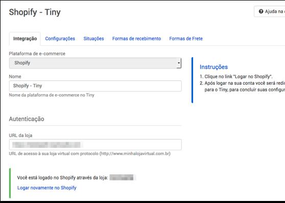 Configurações Shopify