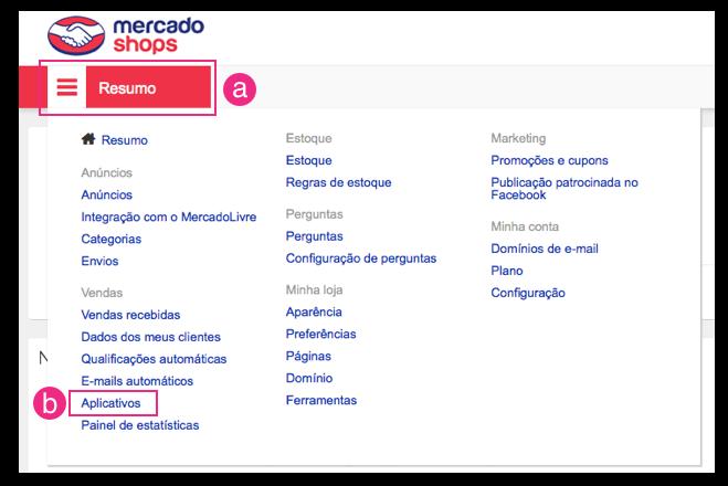 Configurações MercadoShops