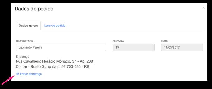 Editar endereço