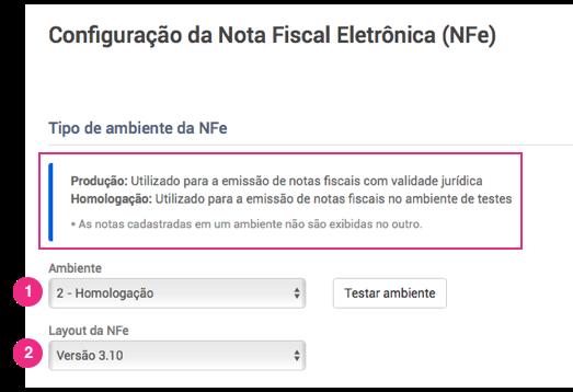 Configurações NFe