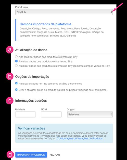 Configurações e-commerce